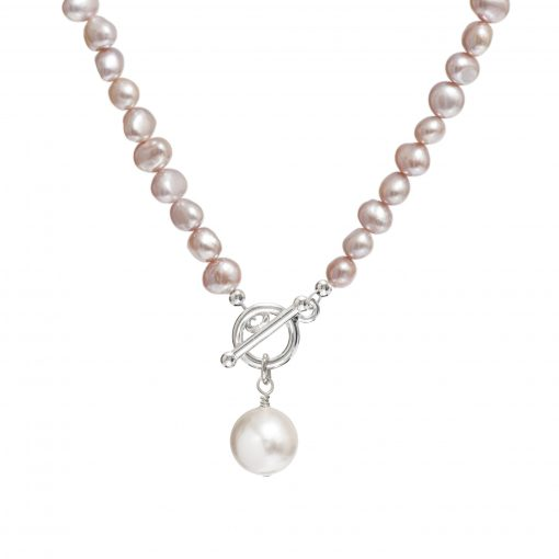 pink pearl necklace with pearl drop