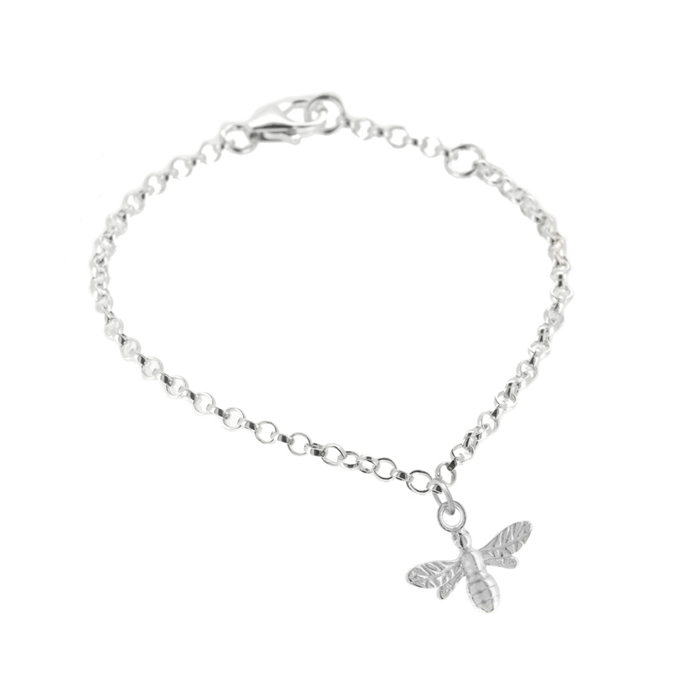 Silver Charm Bracelet with bee