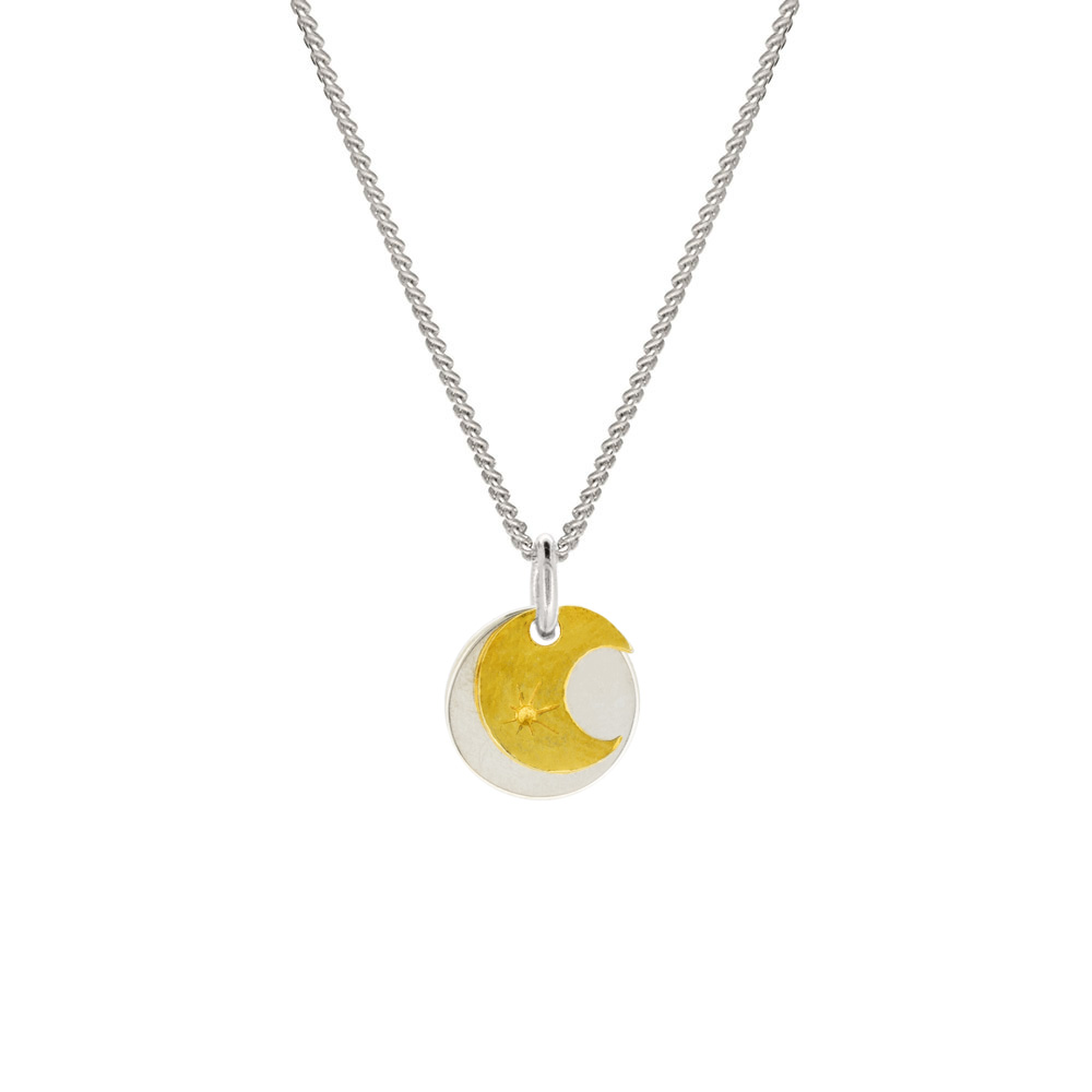 yellow gold moon and stars pendant