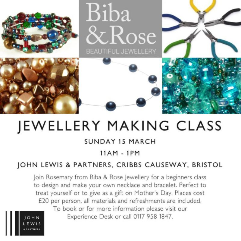Jewellery making Workshop 15.3.2020