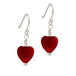 deep Red Murano Heart Earrings