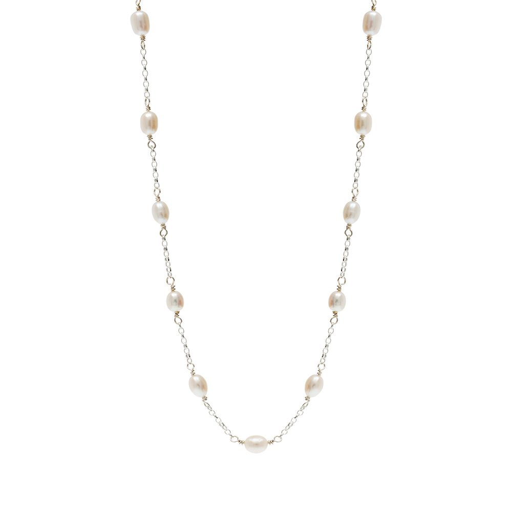 silver chain necklace linking freshwater pearls