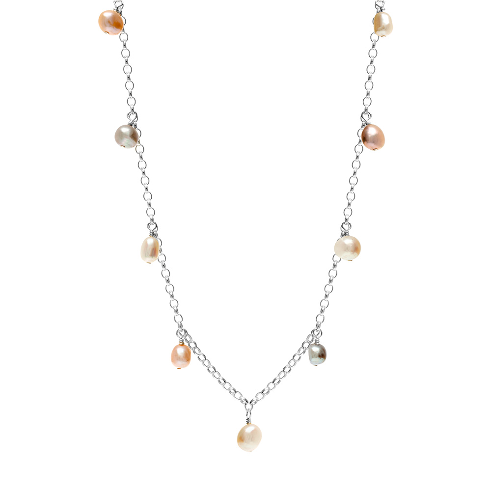 silver necklace with freshwater pearl charms