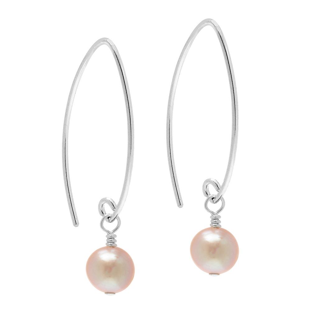 long pink pearl earrings