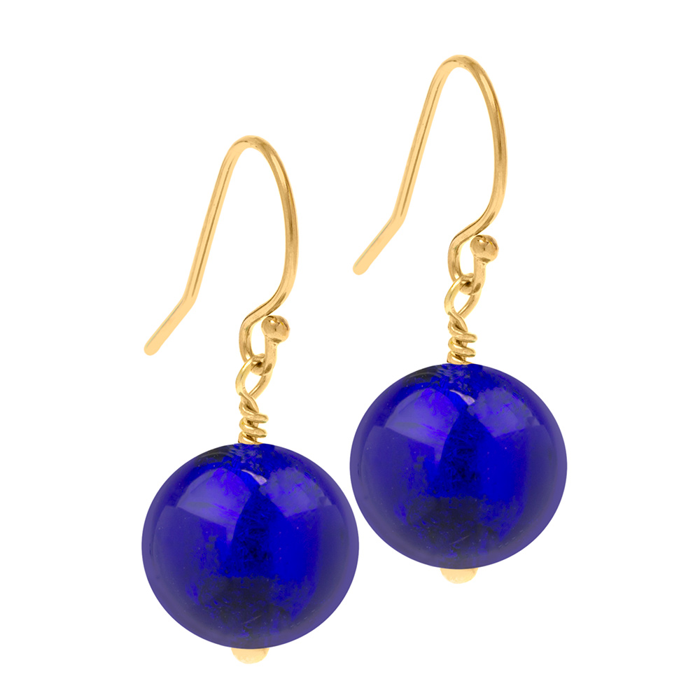 deep blue earrings on gold
